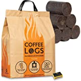 2 Packs of 16 Coffee Logs & Tigerbox Safety Matches. Carbon Neutral Extra Hot Solid Fuel made from Recycled Coffee.