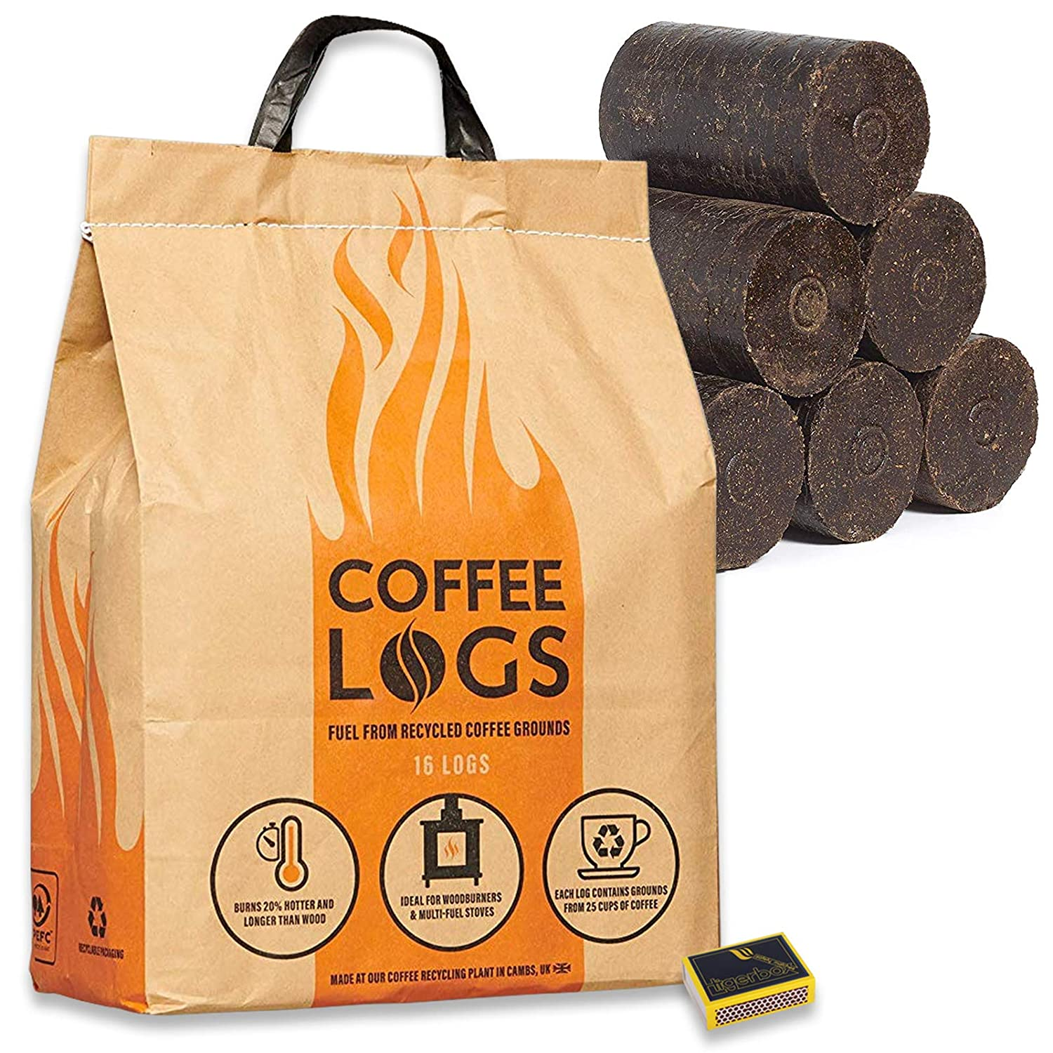 16 Coffee Logs & Tigerbox Safety Matches. Carbon Neutral Extra Hot Solid Fuel made from Recycled Coffee.