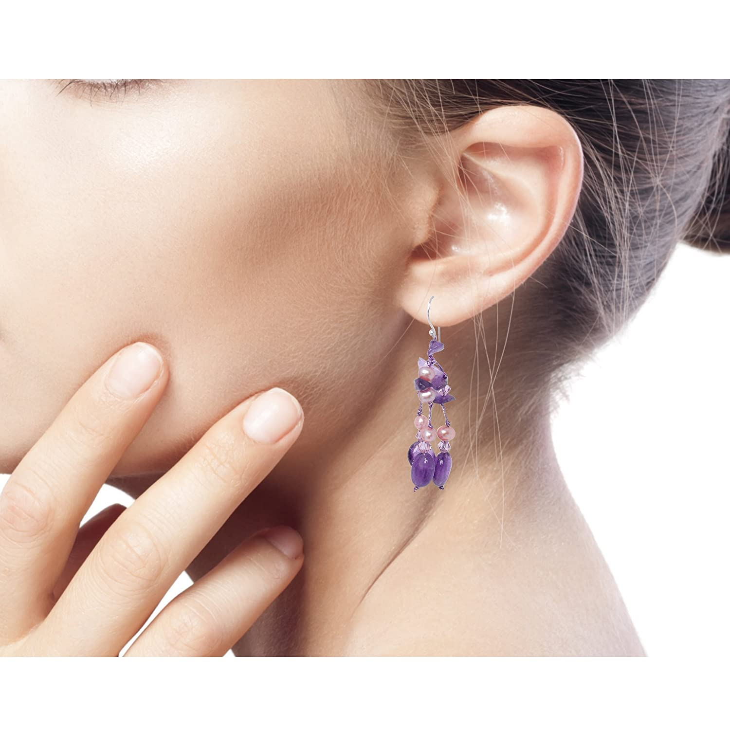 NOVICA Dyed Cultured Freshwater Pearl and Amethyst Earring with Sterling Silver Hooks Lavender Ice