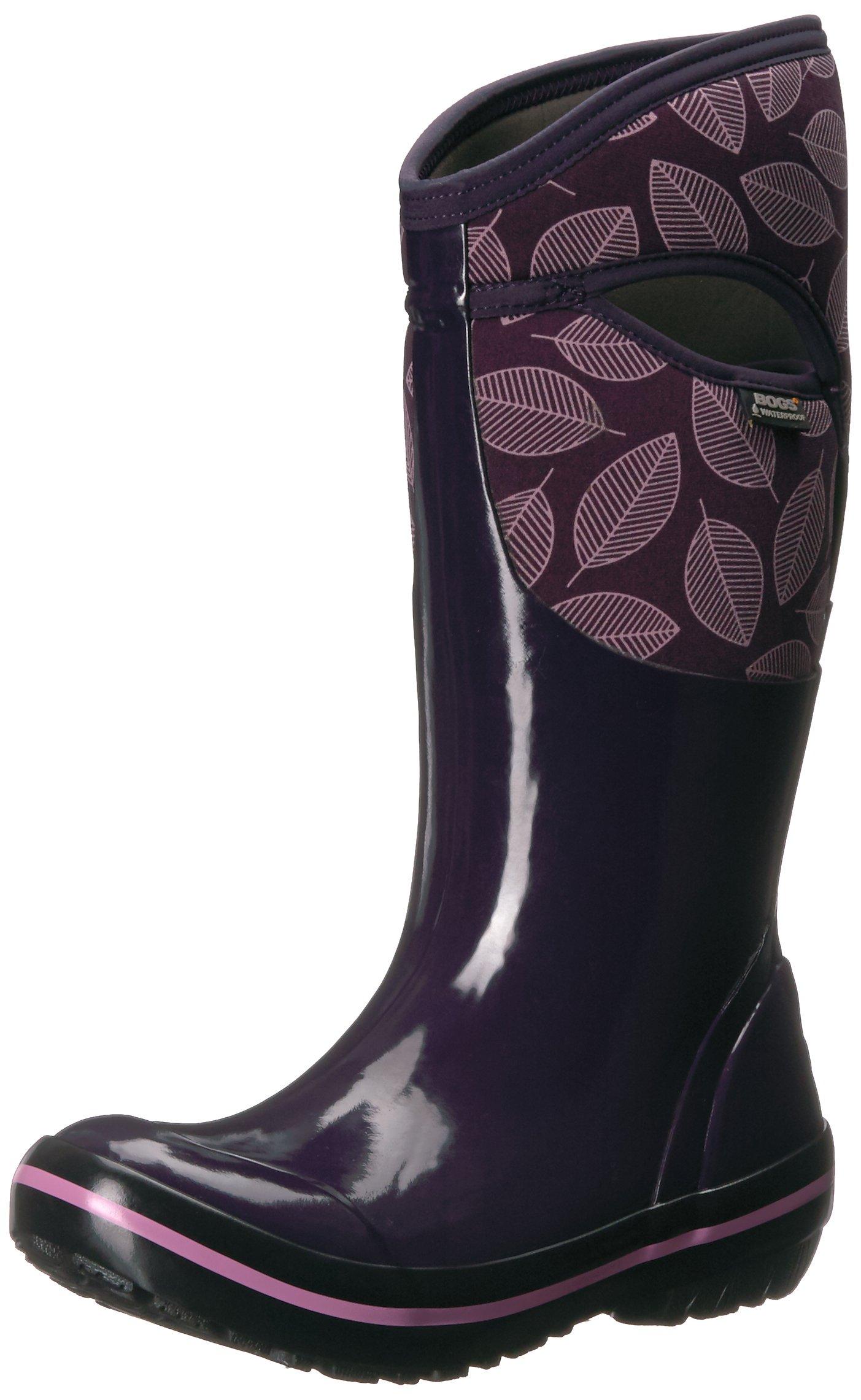Bogs Women's Plimsoll Leafy Tall Snow Boot, Eggplant Multi, 8 M US