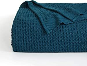 Bedsure 100% Cotton Thermal Blanket - 405GSM Soft Blanket in Waffle Weave for Home Decoration - Perfect for Layering Any Bed for All-Season - Queen Size (90 x 90 inches), Teal