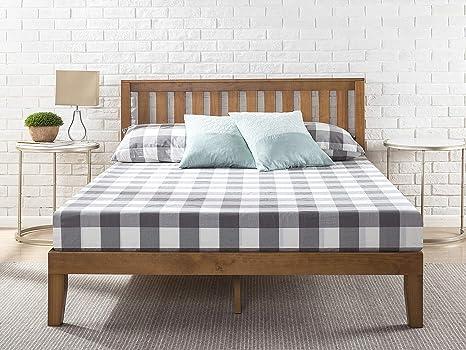 Zinus Cama de plataforma de madera con cabecero Alexia de 30,5 cm, Base para colchón, Sin necesidad de usar un somier, Sólido soporte de listones de ...