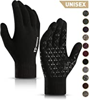 TRENDOUX Winter Gloves for Men Women - Unisex Knit Touch Screen, Thermal Warm Lining