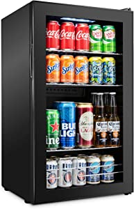Ivation 126 Can Beverage Refrigerator | Freestanding Ultra Cool Mini Drink Fridge | Beer, Cocktails, Soda, Juice Cooler for Home & Office | Reversible Glass Door & Adjustable Shelving - Black