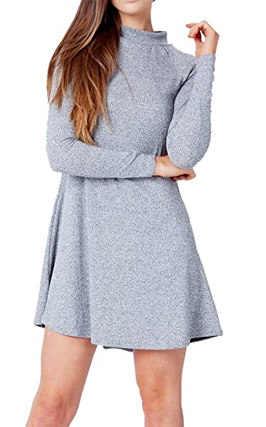 Re Tech Uk Ladies Rib Knit Turtle Polo Neck Jumper Swing Dress Skater Flared Long Sleeve