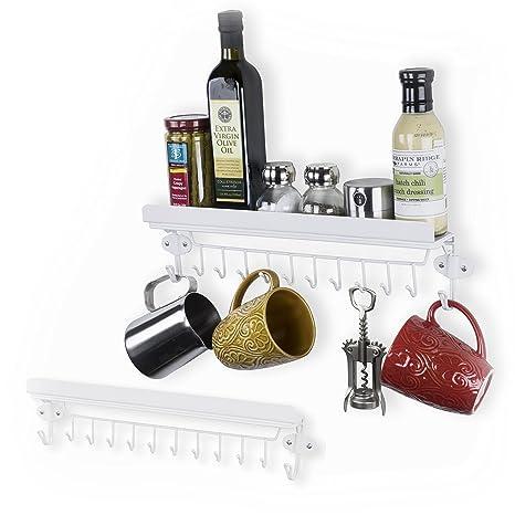 WALLNITURE Floating Hanging Utensil Storage Kitchen Shelf Spice Rack With  12 Hooks Steel Glossy White Set