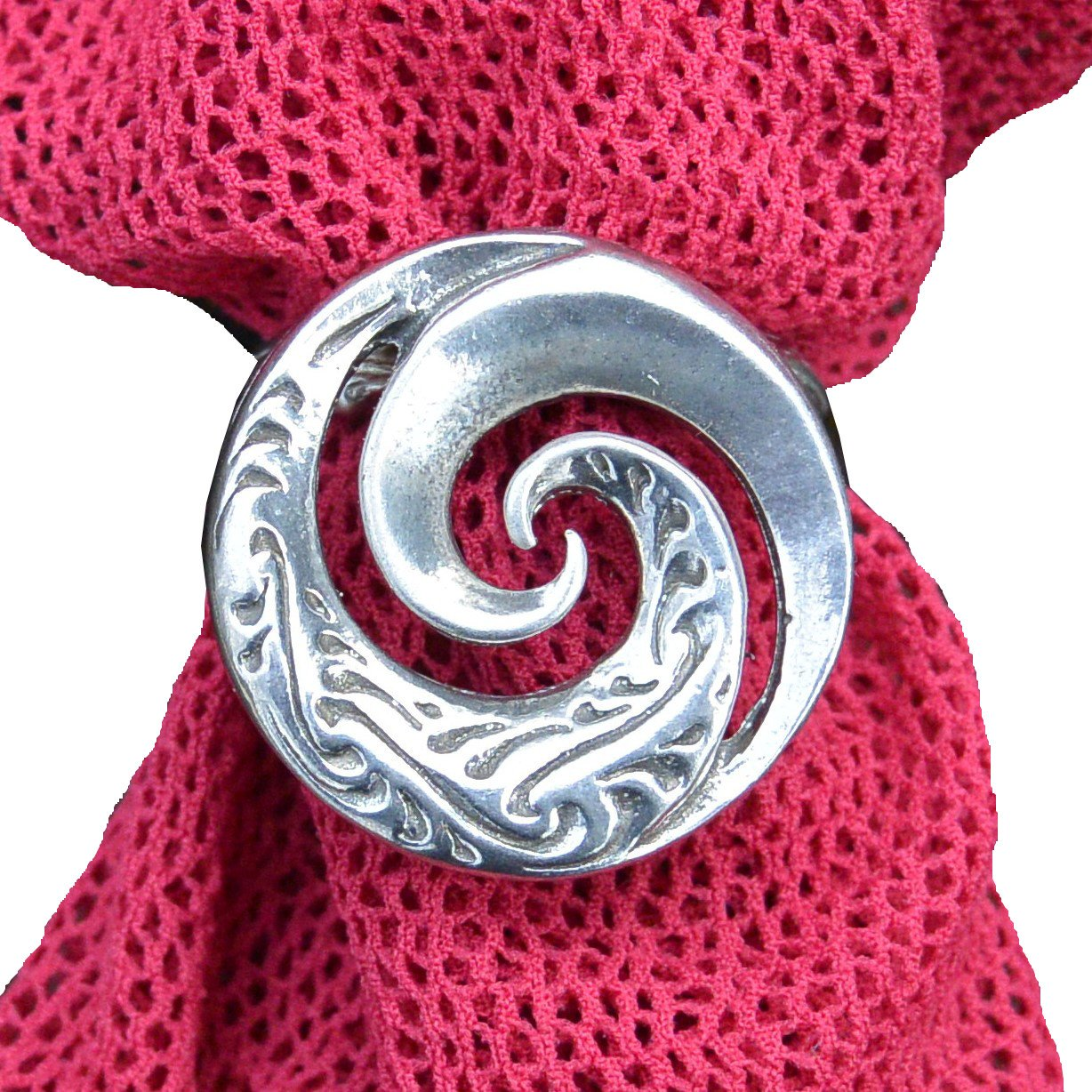 Luxury Fine Pewter Maori Koru Spiral Scarf Ring, Handcast by William Sturt