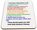 Five Rules to Remember in Life Funny Novelty Glossy Mug Coaster