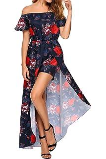 e82c3d07987 SE MIU Women s Off Shoulder Boho Split High Low Floral Maxi Romper Dress