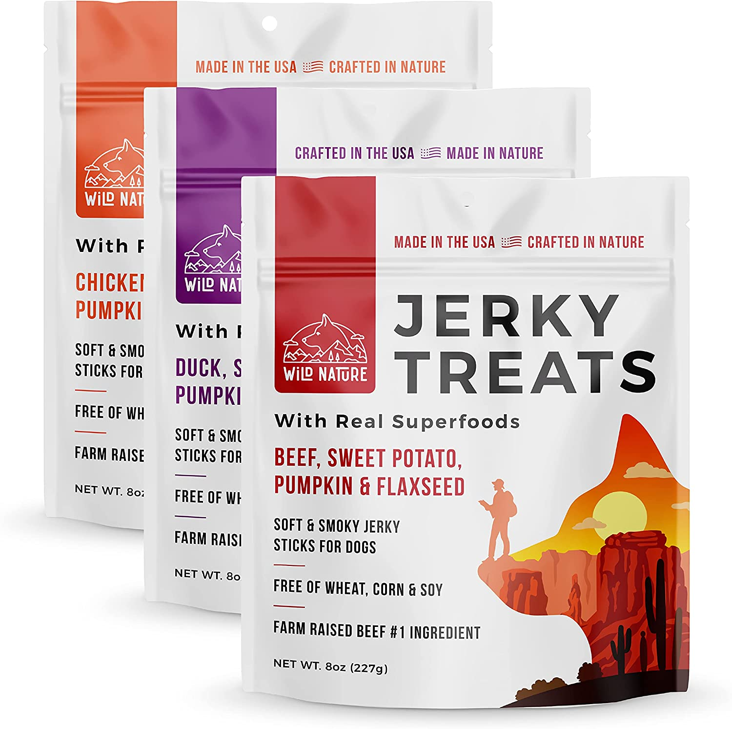 Wild Nature Jerky Dog Treats - Chicken, Beef, and Duck Dog Jerky Treats with Superfoods Variety Pack Made in The USA Soft Dog Jerky Sticks Grain Free for Medium Dogs, Small and Large