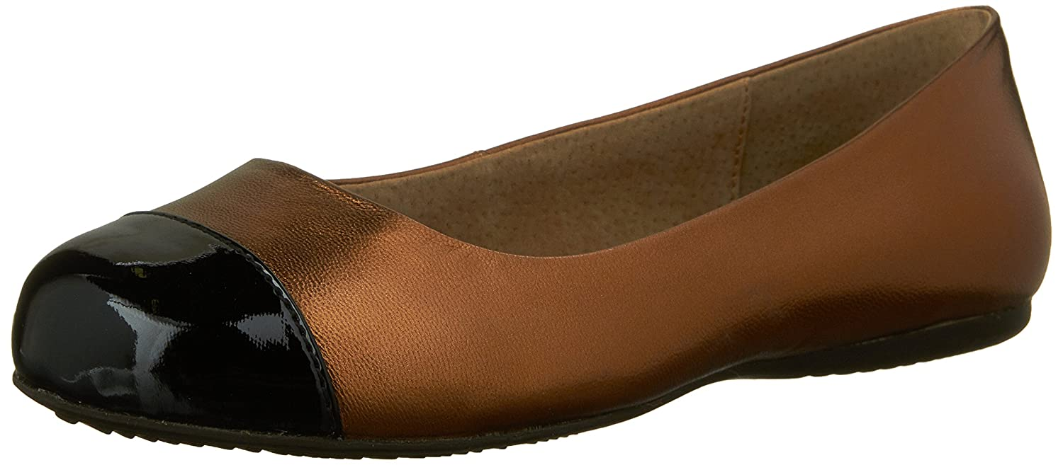 SoftWalk Womens Napa Ballet Flat B008N0AYEG 9 W US|Bronze/Black