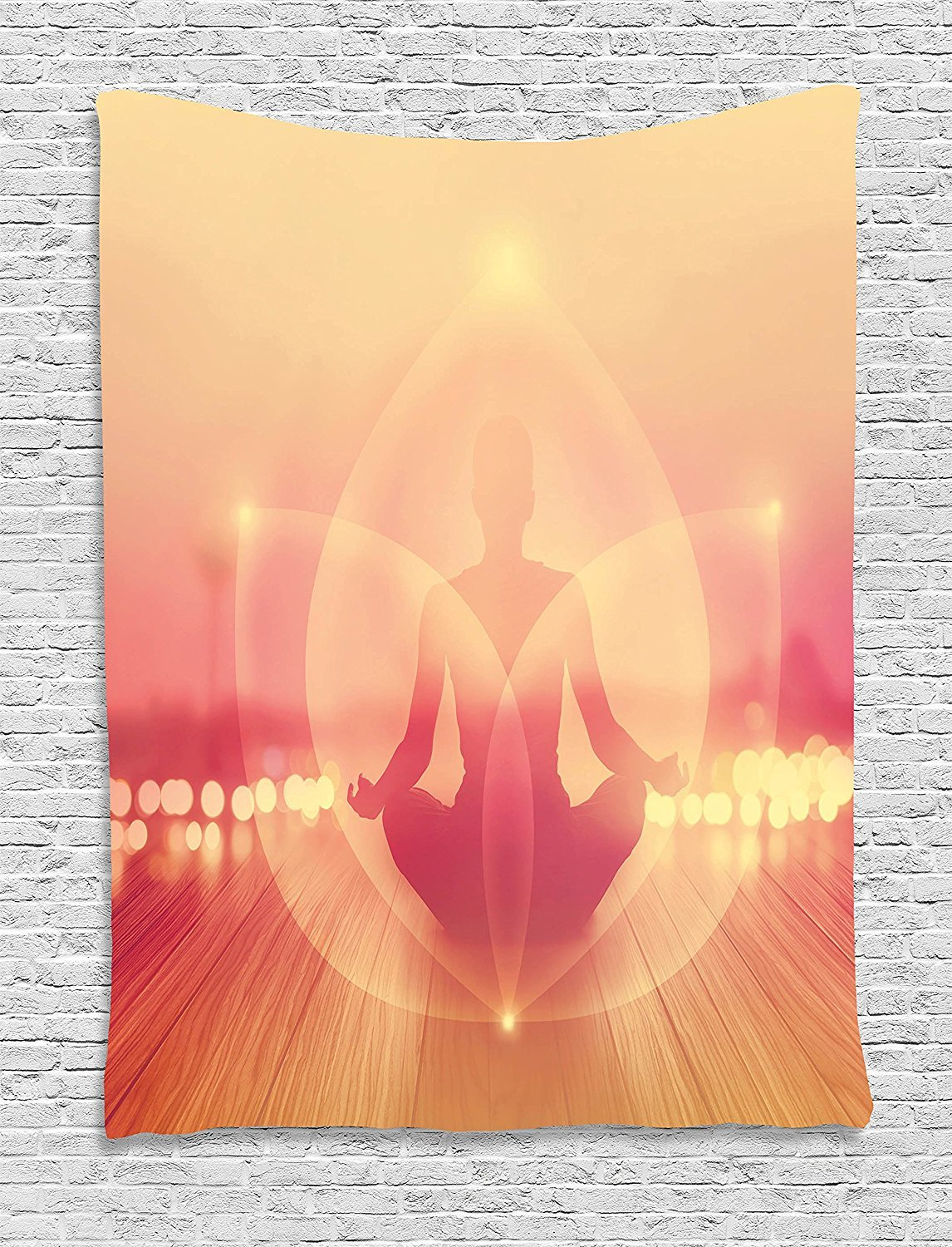 asddcdfdd Yoga Tapestry, Silhouette of Woman Meditating in Sunrise Energy of Light Zen Peace Boho Picture, Wall Hanging for Bedroom Living Room Dorm, 60 W x 80 L Inches, Dark Coral Peach