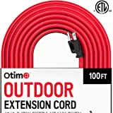 Otimo 100 ft 12/3 Outdoor Extra Heavy Duty Extension Cord - Professional Series - 3 Prong Extension Cord, Red