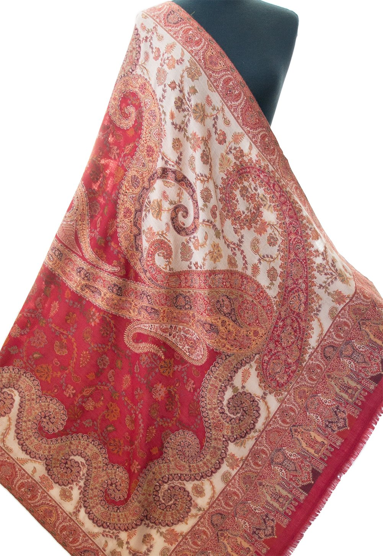 Red and Cream Large Wool Shawl Flowers Hand-Cut Kani Warm Pashmina Throw 80''x40''