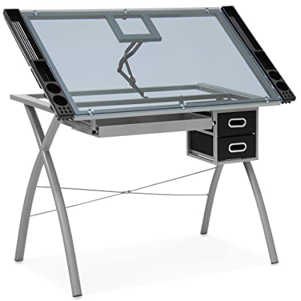 Charmant Best Choice Products Modern Adjustable Drafting Table W/Drawers, Glass Top  Removable Side Trays