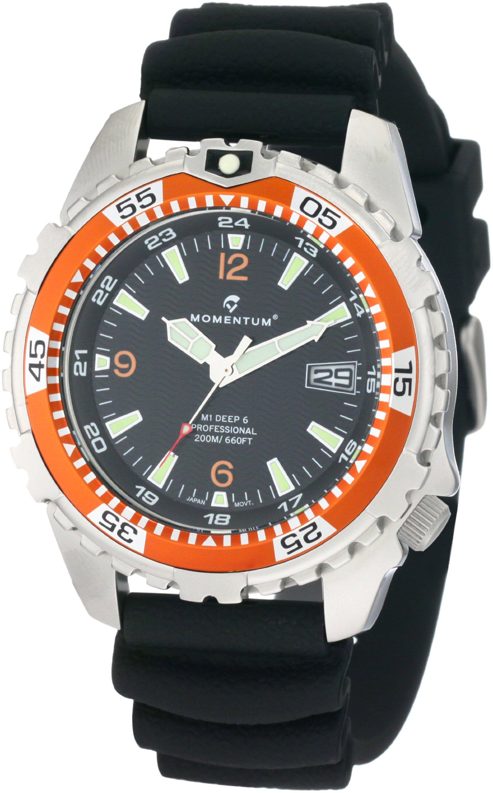 Momentum Men's 1M-DV06O1B M1 Deep 6 Orange Bezel Polyurethane Dive Watch by Momentum