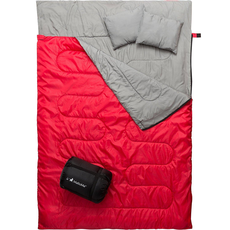 [MalloMe] [Double 寝袋 Camping Sleeping Bag - 3 Season Warm & Cool Weather - Summer, Spring, Fall, Lightweight, Camping Gear Equipment] (並行輸入品) B07DWH1CDM One Size Double Red Double Red One Size