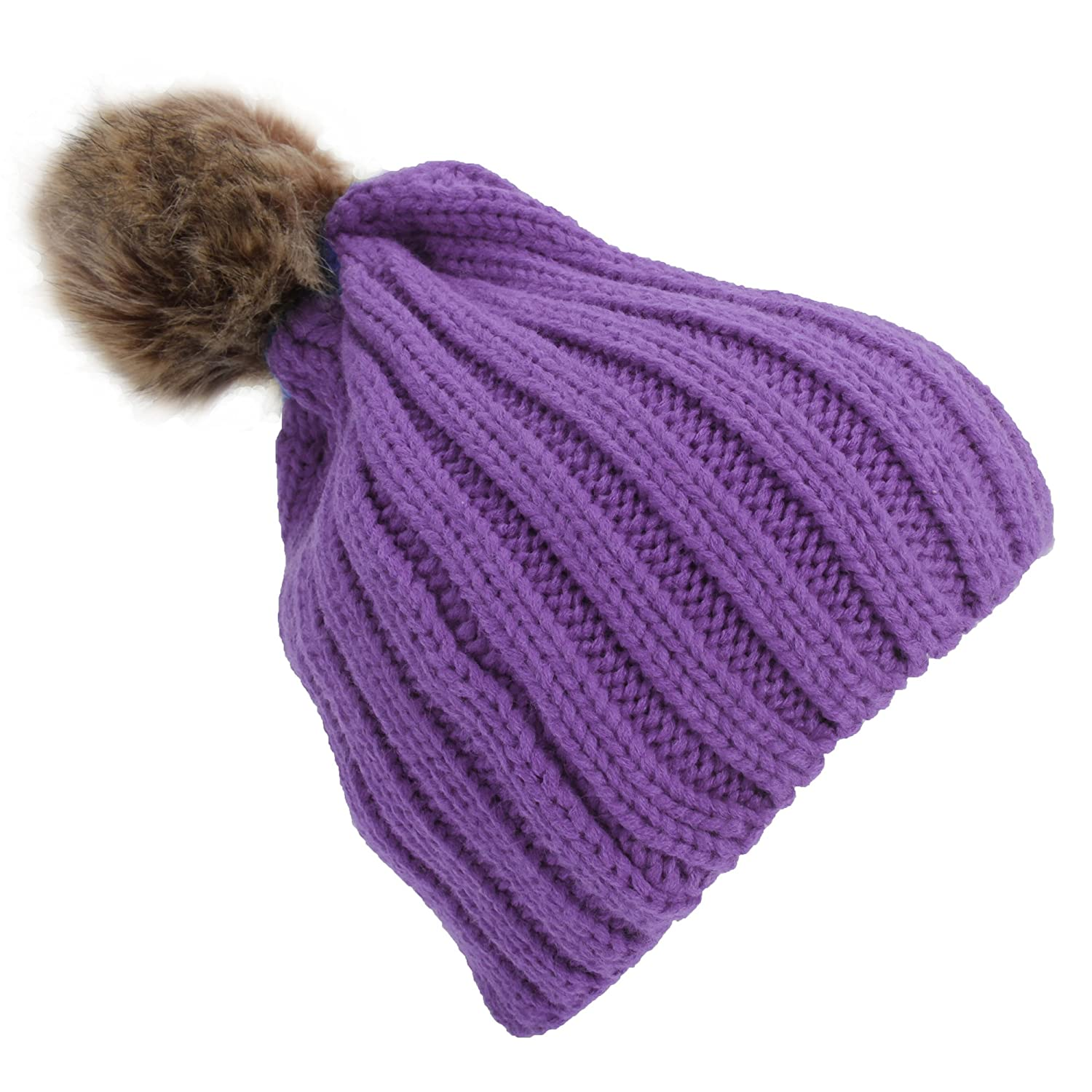 Childrens Girls Cable Knit Faux Fur Pom Pom Winter Beanie Hat (One Size) (Purple) Universal Textiles UTHA513_4
