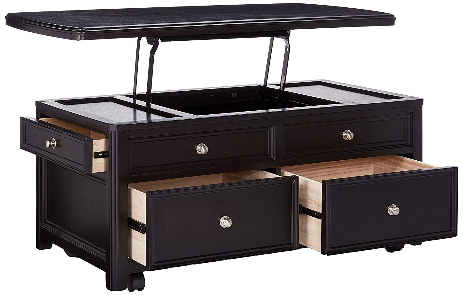 Amazon.com: Ashley Furniture Signature Design   Carlyle Lift Top Coffee  Table   4 Drawers   Contemporary Living   Almost Black: Kitchen U0026 Dining