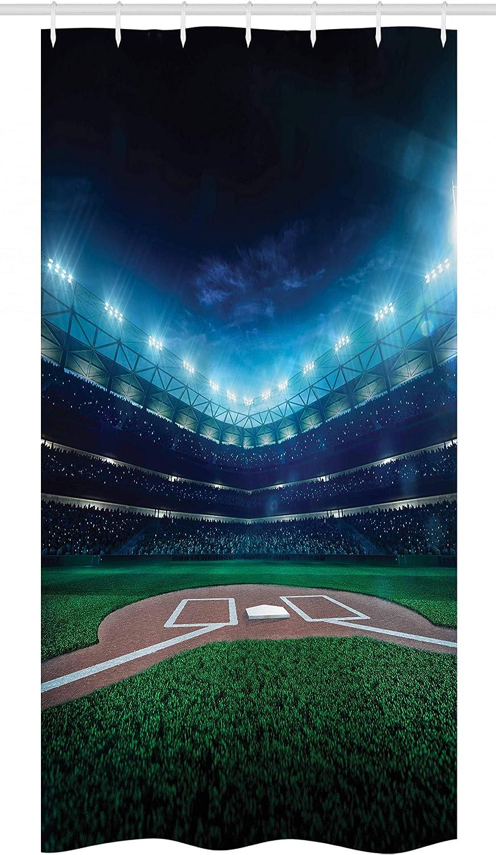Ambesonne Baseball Stall Shower Curtain, Professional Baseball Field at Night Vibrant Playground Stadium League Theme Print, Fabric Bathroom Decor Set with Hooks, 36