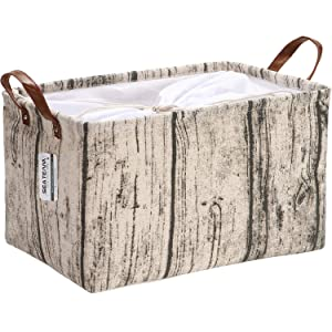 Sea Team Stylish Tree Stump Canvas Fabric Storage Basket Collapsible Geometric Design Storage Bin with Drawstring Cover and PU Leather Handles, 16.5 by 11.8 inches, Waterproof Inner