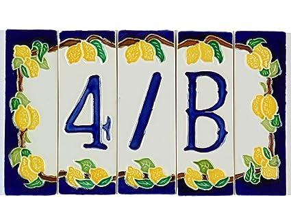 Numeri civici in ceramica numero civico ceramica limoni tasselli con