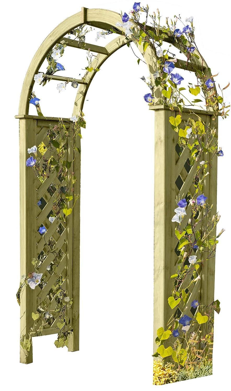 Gartenpirat Pergola mit Rundbogen 119x58x240 cm Rosenbogen aus Holz mit Rankgitter