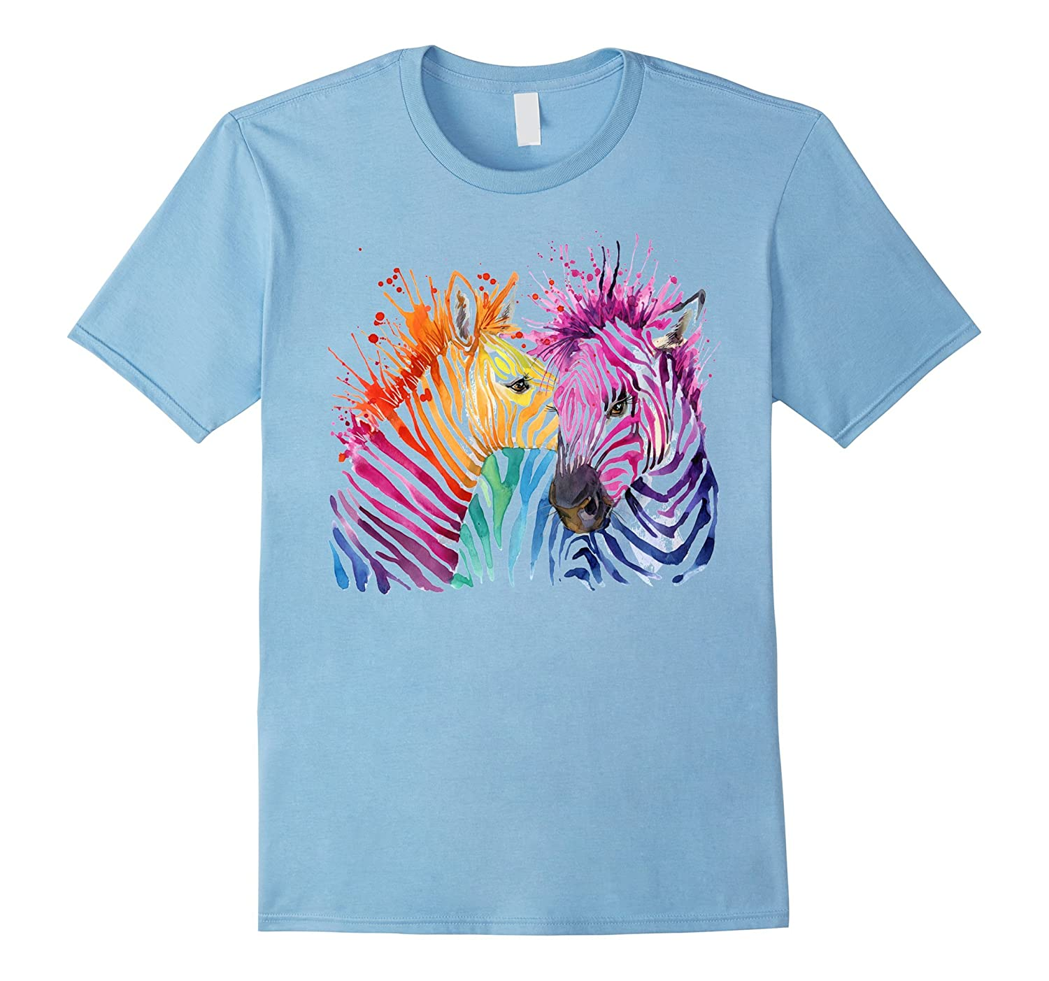 Cute watercolor neon color zebra couple tees shirts anz for Neon colored t shirts wholesale