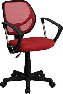 Flash Furniture Low Back Red Mesh Swivel Task Office Chair with Arms
