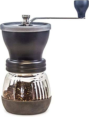Khaw-Fee HG1B Manual Coffee Grinder with Conical Ceramic Burr - Because Hand Ground Coffee Beans Taste Best, Infinitely Adjustable Grind, Glass Jar