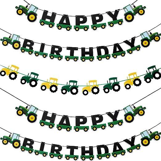 Alles Gute zum Geburtstag Buchstaben Traktor Auto Filz Banner Girlande