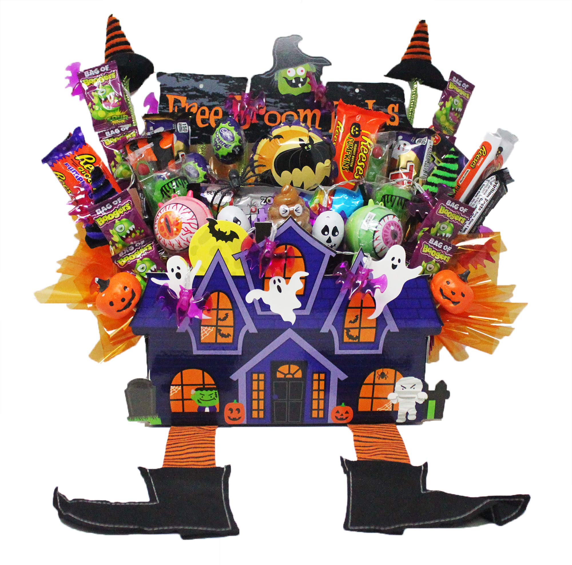Halloween Haunted House Candy Bouquet Loaded with Snickers Jack-O-Lanterns, Reese's Pieces King Size Chocolate Bars and Assorted Candy. Arranged in a Spooky House Gift Box. by Online 24/7 LLC