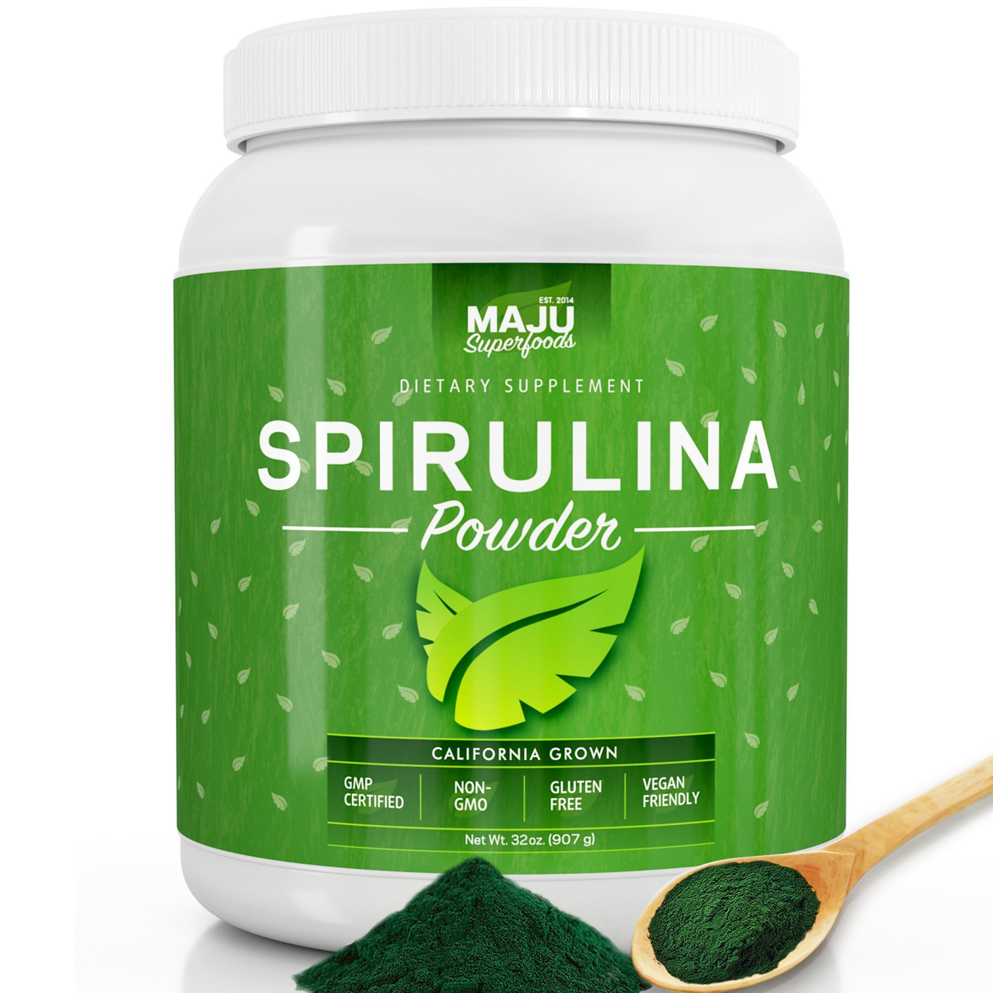 MAJU's California Grown Spirulina Powder (2 Pound): Non-Irradiated, Non-GMO, Spirulina Recipe eBook with Purchase, Vegan, Gluten-Free