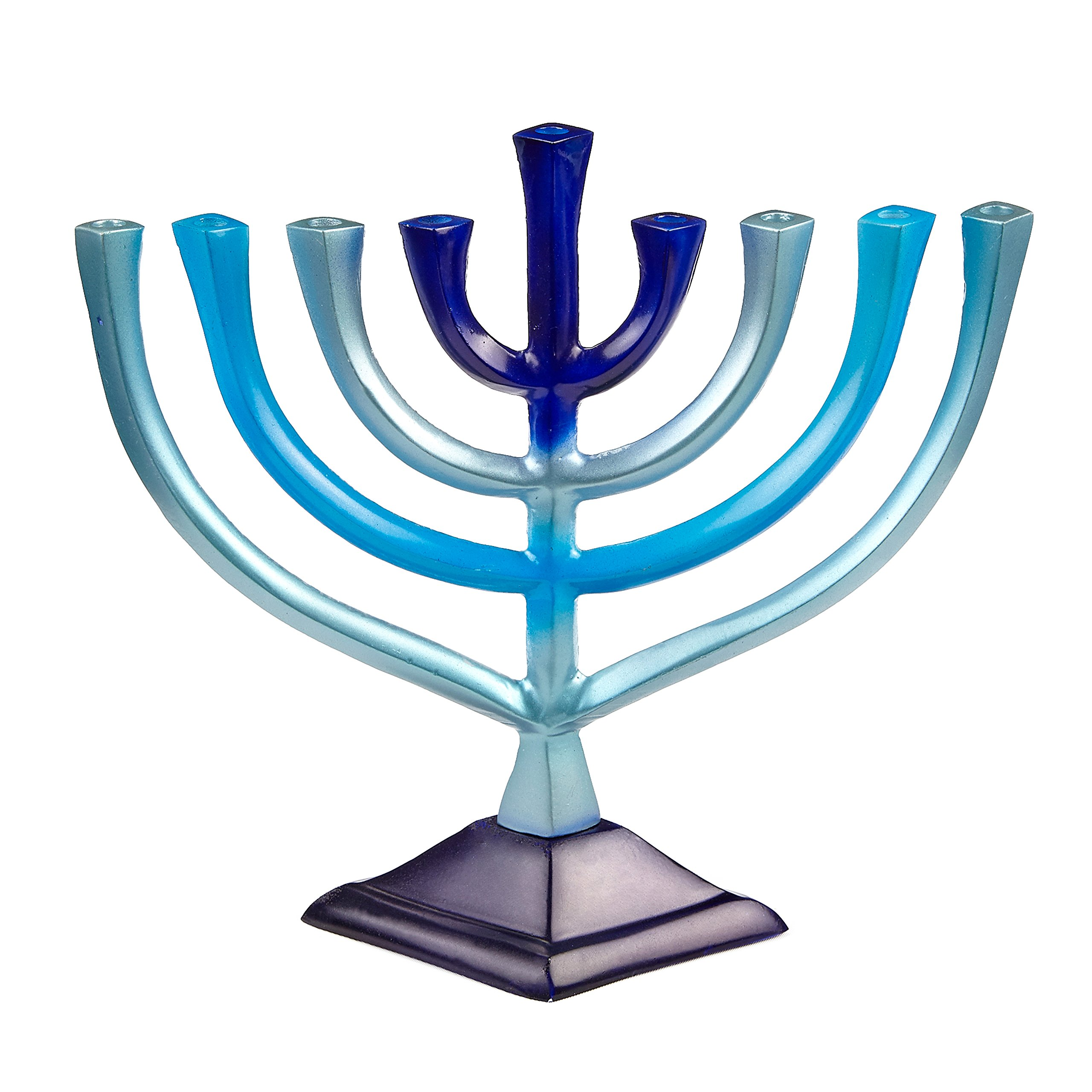 Ner Mitzvah Colorful Aluminum Candle Menorah - Fits All Standard Chanukah Candles - Artistic Blue Gradient Tie Dye Design - 10'' High