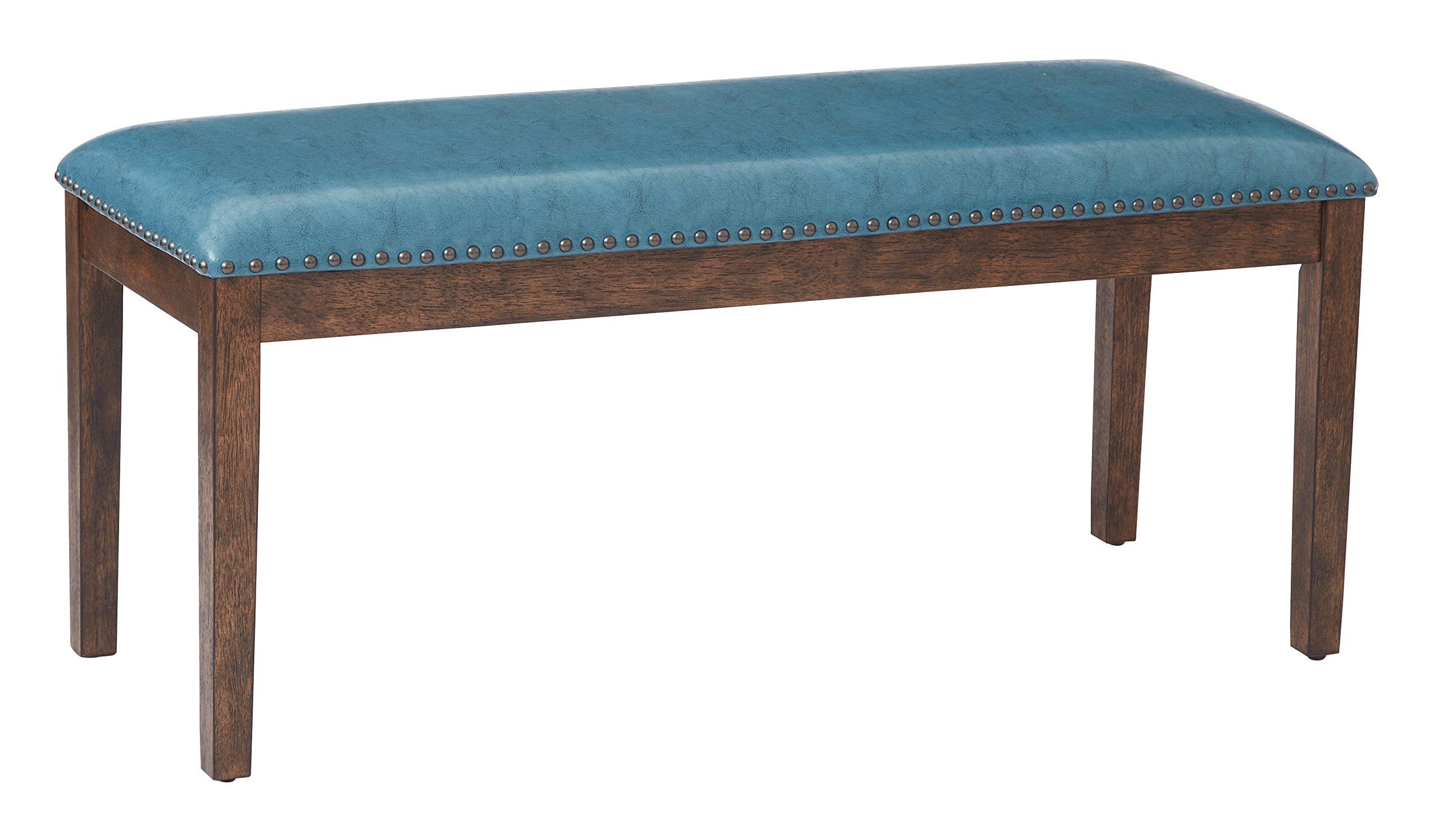 Office Star Langston Faux Leather Bench with Wood Frame and Nailhead Accents, Blue