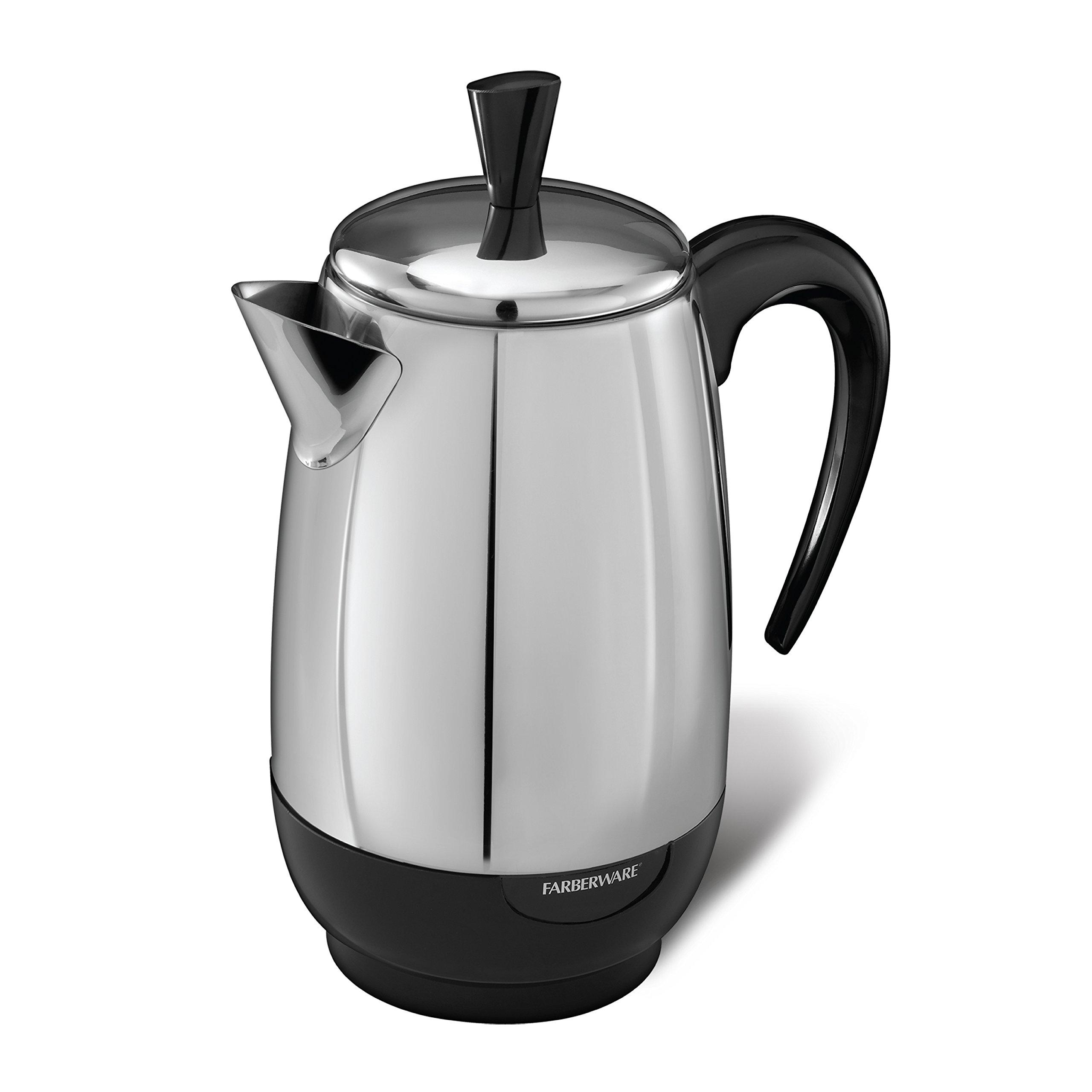 Spectrum Brands Farberware 8-Cup Percolator, Stainless Steel, FCP280, Black by Farberware