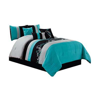 Chezmoi Collection Napa 7-Piece Luxury Leaves Scroll Embroidery Bedding Comforter Set (King, Teal/Gray/Black)