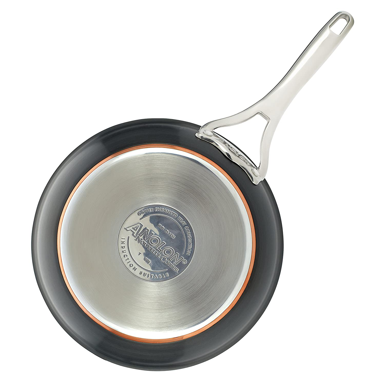 Dark Gray Anolon Nouvelle Copper Hard-Anodized Nonstick Twin Pack French Skillets 8-Inch and 10-Inch