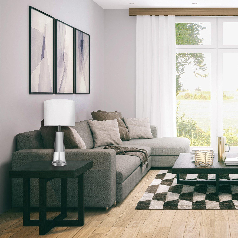Globe Electric Della 22 Table Lamp Concrete Finish Base Gray Linen Shade 12854