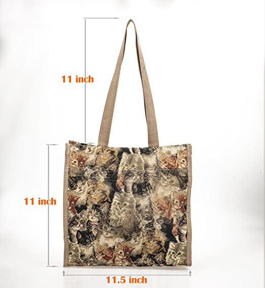02b7315a0 Tapestry Heavy Duty Tote Bag for Cat Lovers. Versatile, Reusable, Washable Tote  Bag for School, Shopping, Travel.: Amazon.co.uk: Kitchen & Home
