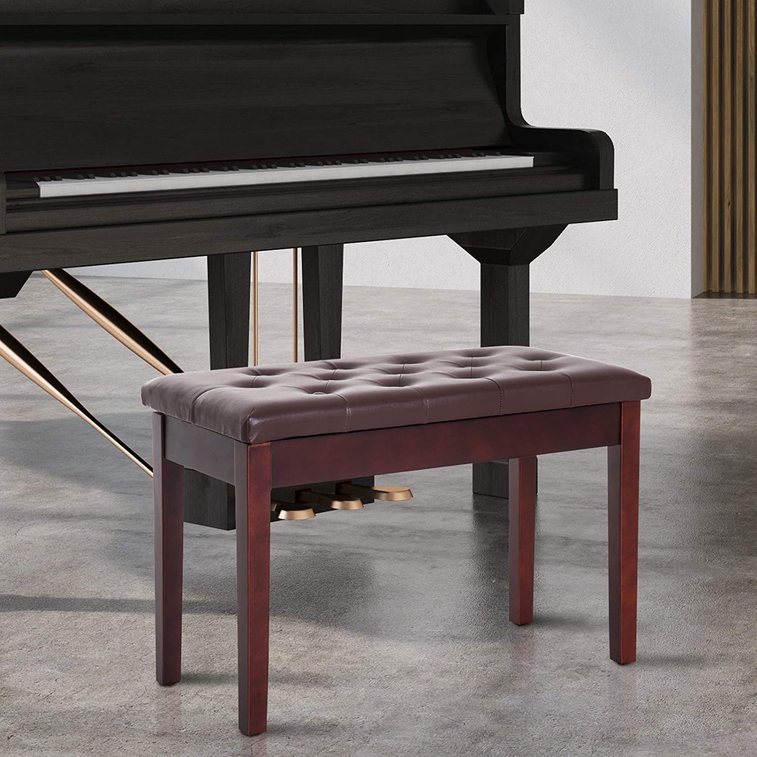 HOMCOM 30 Padded Storage Piano Bench Artist Keyboard Seat Faux Leather Brown