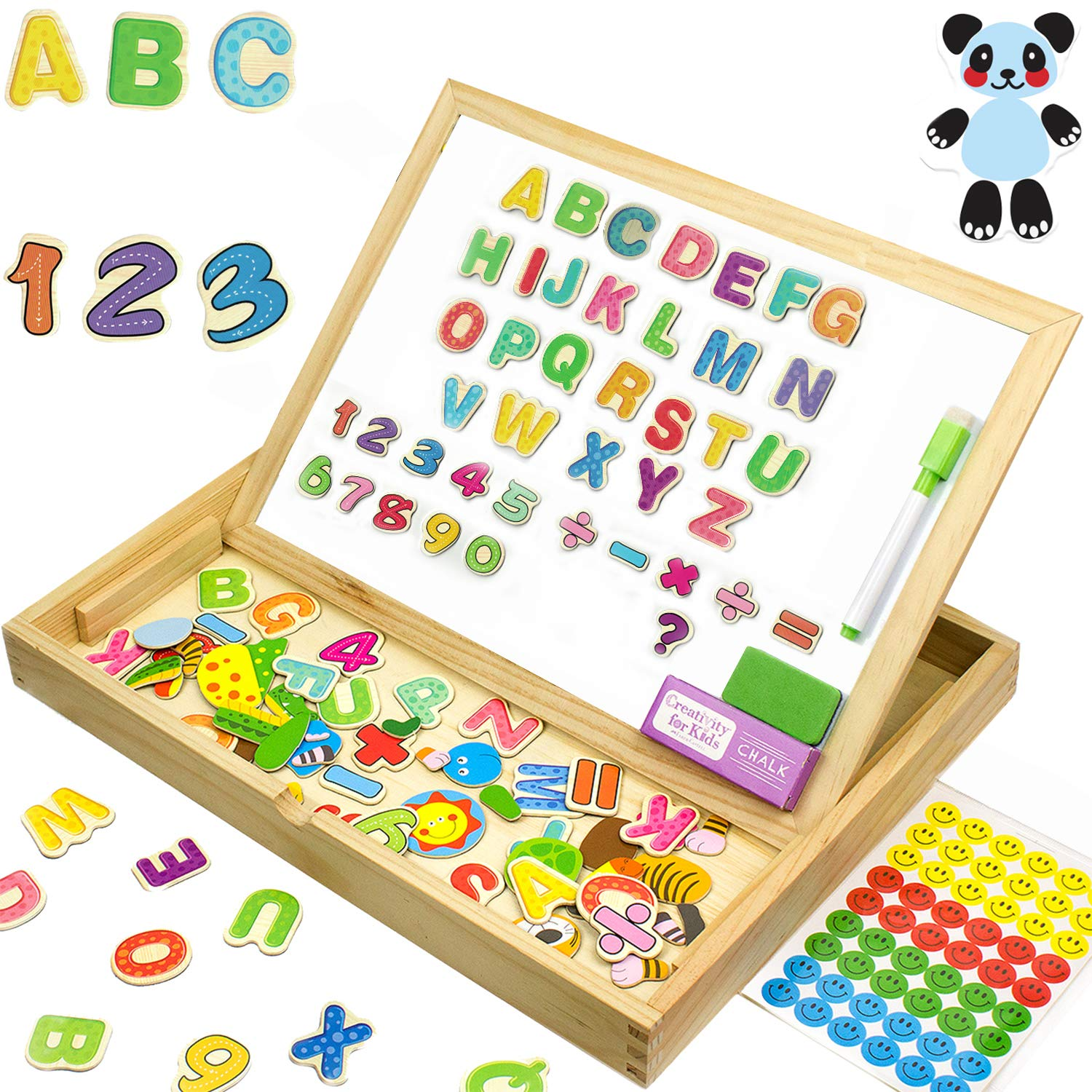 JQP XL Wooden Magnetic Letters Numbers Animals Set |16'' x 12'' inch | 151 Pcs | Whiteboard and Blackboard Writing Reading Drawing Whiteboard Blackboard | Learning Wooden Puzzle | 3 to 6 Years Old by JQP
