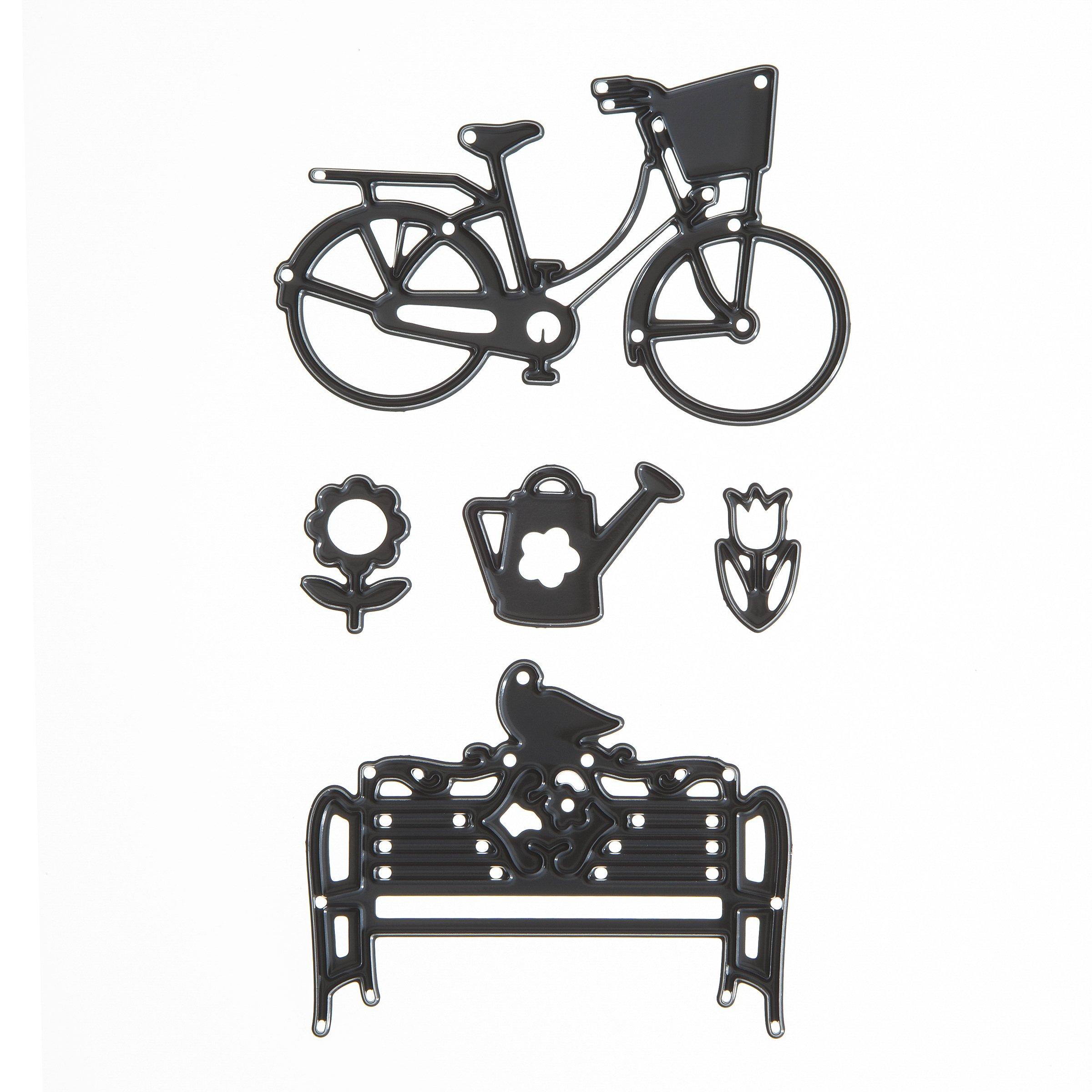 Darice Build-a-Design Craft Dies Outdoor Bicycle & Bench Scene Die Cuts, 5 Piece