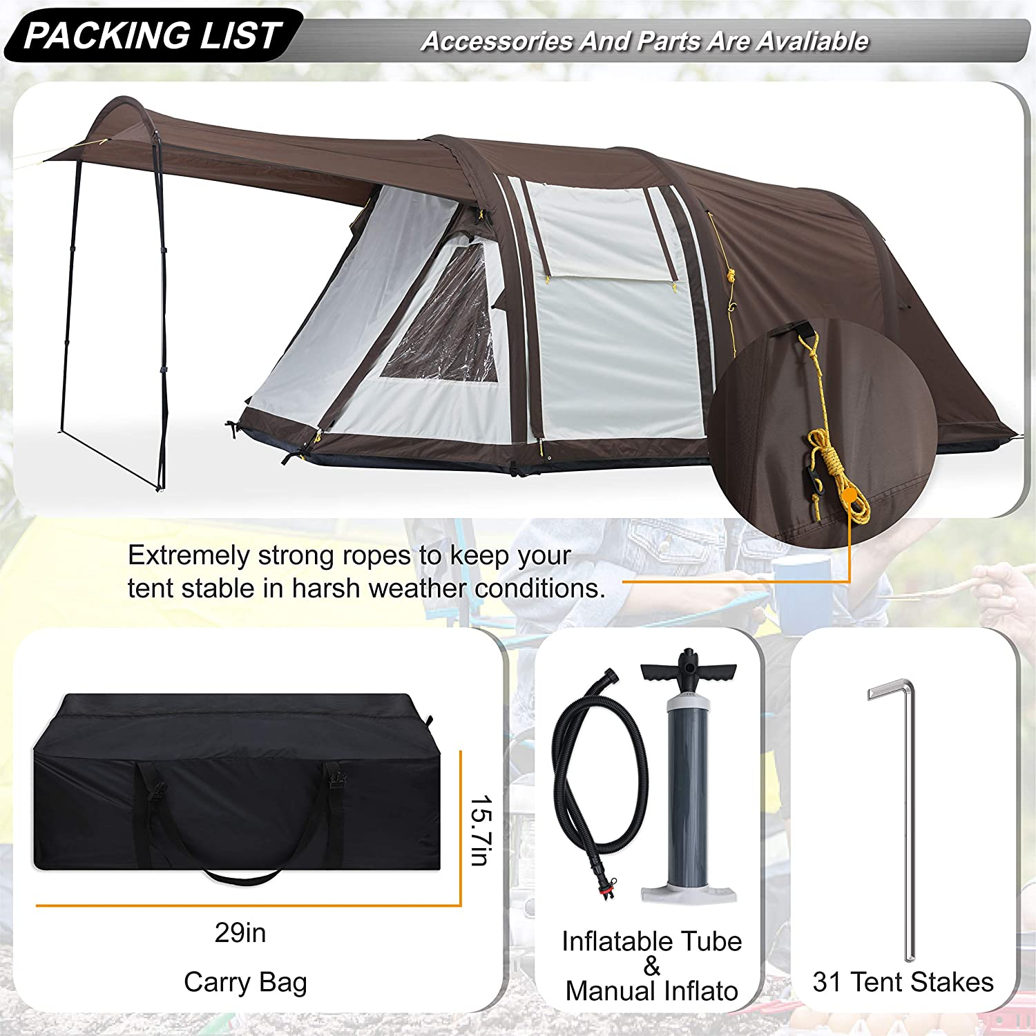 ABCCANOPY 4 Person Inflatable Dome Tent Set Up in Seconds Waterproof Outdoor Camping Tent with Top Rainfly Instant Cabin Tent