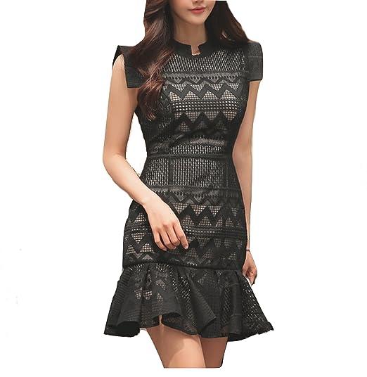 59b219a4ba Celebritystyle black zigzag pleated hem lace mini dress see measurements  (S