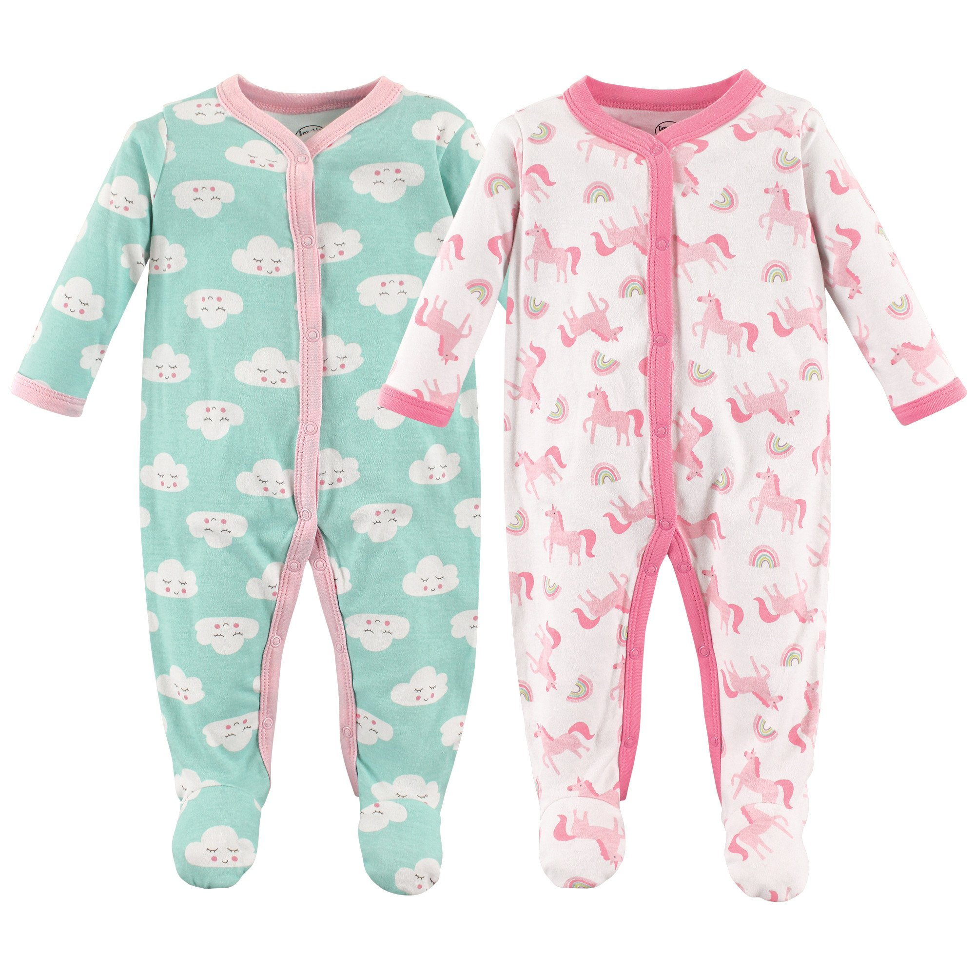 Luvable Friends Baby Cotton Snap Sleep and Play, Unicorn Pack, 3-6 Months