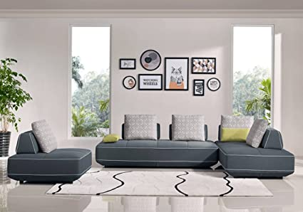 Blackberry Sectional W/Sleeping Sofas In Grey Fabric (Sectional Sofa With 2  Chairs)