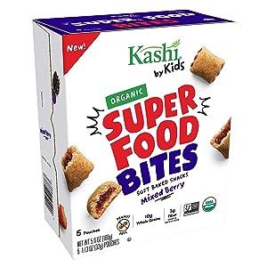 Kashi by Kids, Super Food Mixed Berry Bites, Soft Baked Organic Snacks, 5.6oz