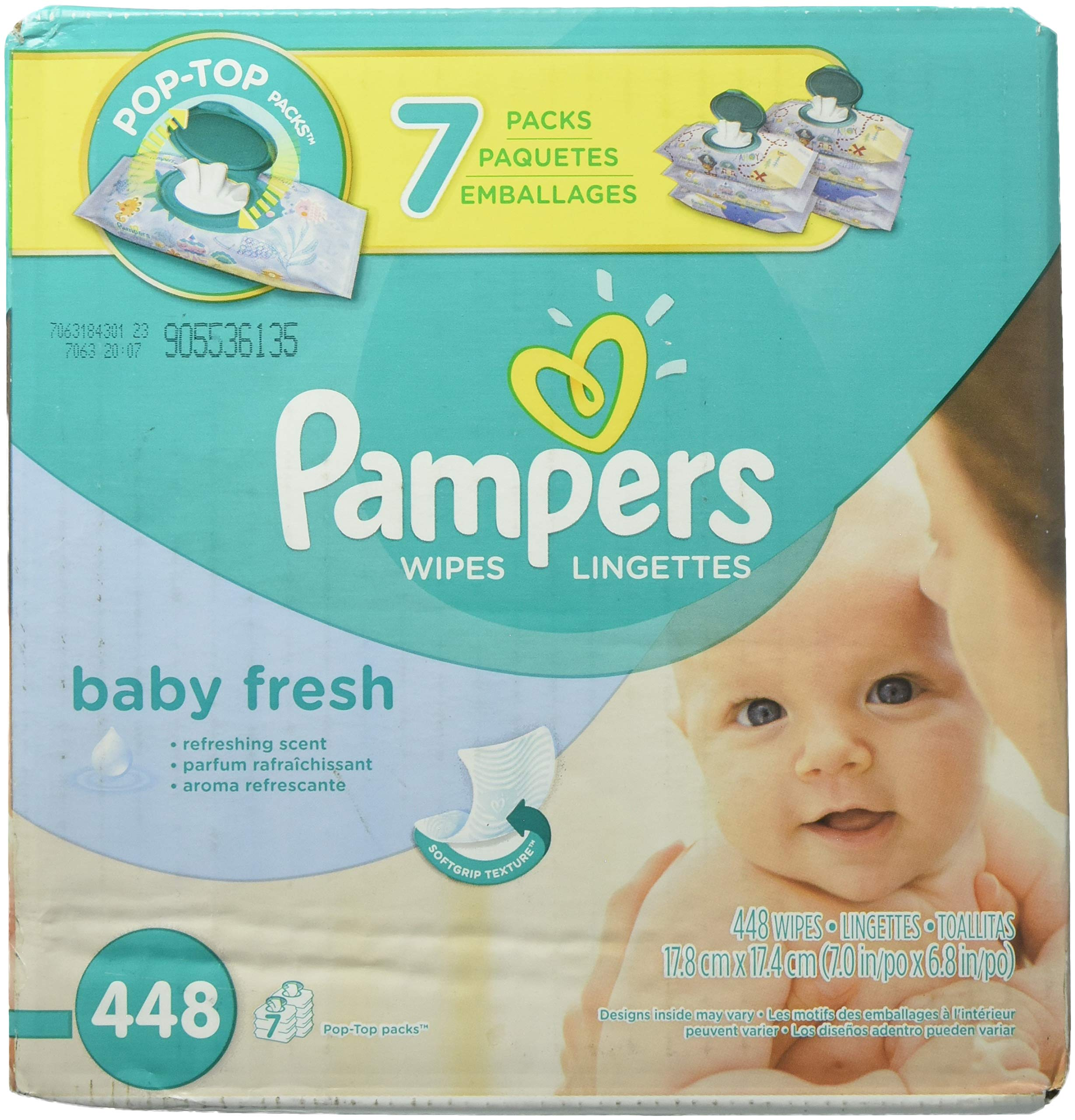Pampers Baby Fresh Baby Wipes 7x Pop-top Pack – 448 Count