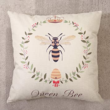 """BUMBLE BEE Throw PILLOW Cushion Cove Bee Happy Honest Kind Cotton Linen 16"""""""